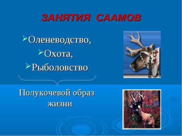 ЗАНЯТИЯ СААМОВ Оленеводство, Охота, Рыболовство Полукочевой образ жизни