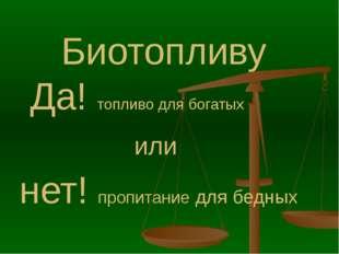 Биотопливу Да! топливо для богатых или нет! пропитание для бедных