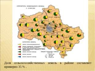 Доля сельскохозяйственных земель в районе составляет примерно 35 % .