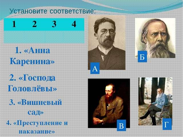 1. «Анна Каренина» 2. «Господа Головлёвы» 3. «Вишневый сад» 4. «Преступление...