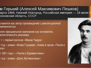 Максим Горький (Алексей Максимович Пешков) 16 (28) марта 1868, Нижний Новгоро