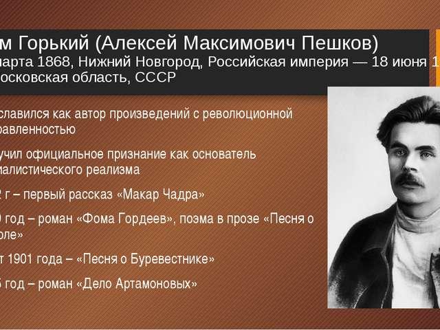 Максим Горький (Алексей Максимович Пешков) 16 (28) марта 1868, Нижний Новгоро...