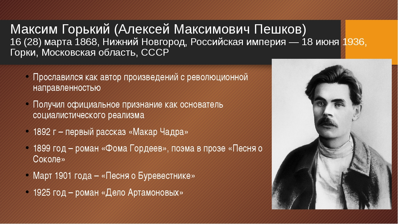 maxim gorky A 1901 photograph of gorky taken in his hometown, nizhny novgorod (known as gorky from 1932 to 1990) above: gorky stands behind lenin in a photograph from the second communist international (comintern.