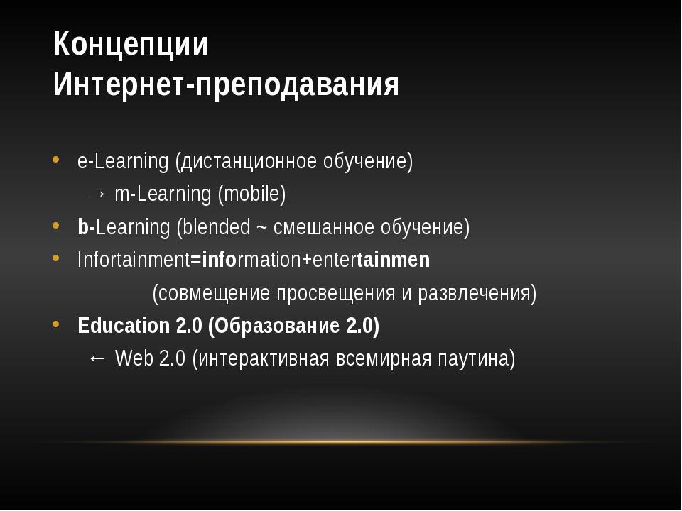Концепции Интернет-преподавания e-Learning (дистанционное обучение) → m-Lear...