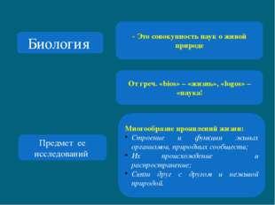 Биология - Это совокупность наук о живой природе От греч. «bios» – «жизнь», «