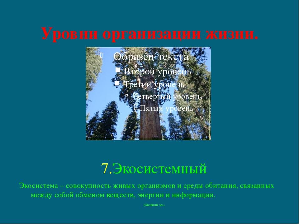 Уровни организации жизни. 7.Экосистемный Экосистема – совокупность живых орга...
