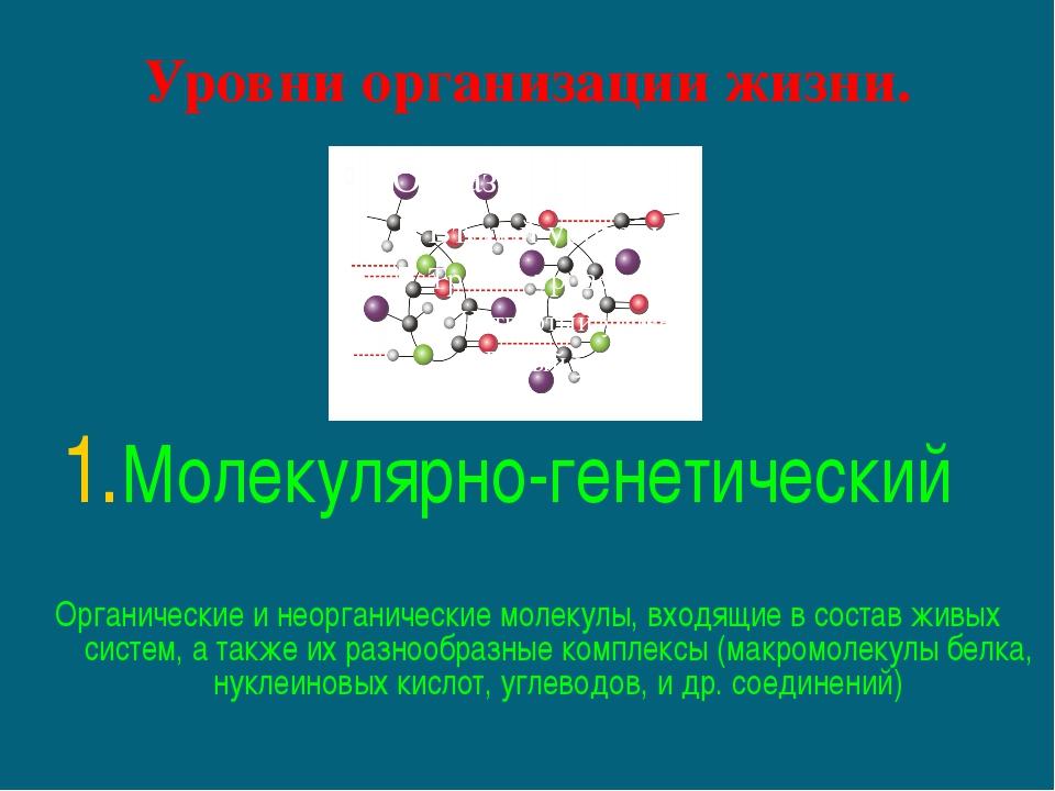 Уровни организации жизни. Молекулярно-генетический Органические и неорганичес...