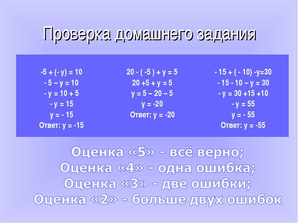 Проверка домашнего задания -5 + (- у) = 10 - 5 – у = 10 - у = 10 + 5 - у = 15...
