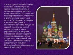 Архитектурный ансамбль Собора состоит из 9 столпообразных храмов различной вы