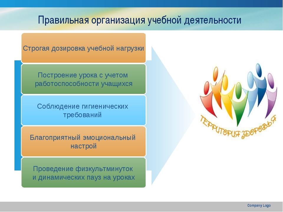 Company Logo Строгая дозировка учебной нагрузки Построение урока с учетом раб...