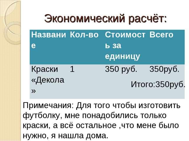 Экономический расчёт: Итого:350руб. Примечания: Для того чтобы изготовить фу...