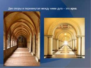 Две опоры и перекинутая между ними дуга – это арка.