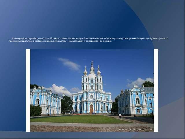 Всё в храме не случайно, имеет особый смысл. Ставят здание алтарной частью н...