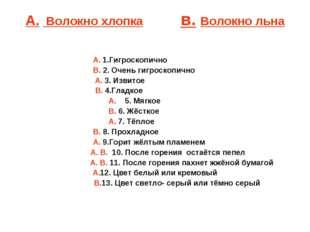 А. Волокно хлопка в. Волокно льна А. 1.Гигроскопично В. 2. Очень ги