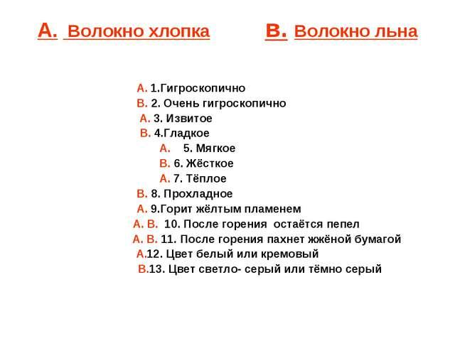 А. Волокно хлопка в. Волокно льна А. 1.Гигроскопично В. 2. Очень ги...