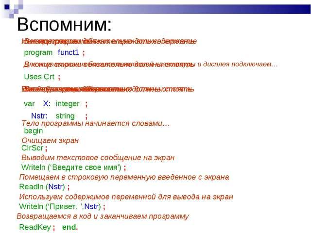 Вспомним: Начало программы: program funct1 Имя программы должно отражать соде...