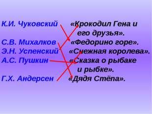 К.И. Чуковский «Крокодил Гена и его друзья». С.В. Михалков «Федорино
