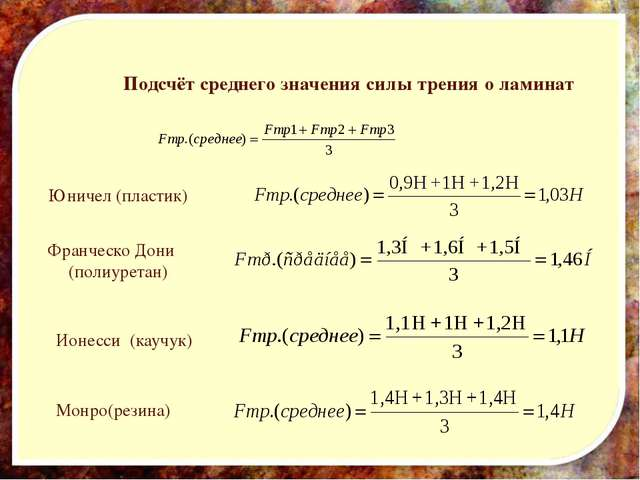 Подсчёт среднего значения силы трения о ламинат Юничел (пластик) Франческо До...