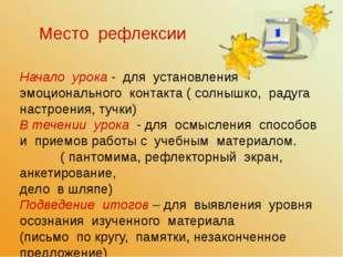 Место рефлексии Начало урока - для установления эмоционального контакта ( сол