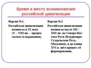 Время и место возникновения российской цивилизации Версия №1. Российская циви