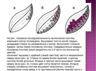На рис. показана последовательность выполнения листика, имеющего жилку посере