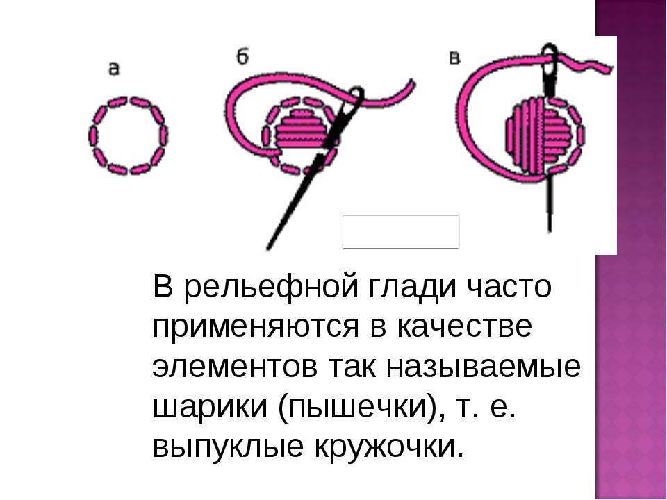 В рельефной глади часто применяются в качестве элементов так называемые шарик...