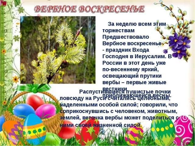 За неделю всем этим торжествам Предшествовало Вербное воскресенье - праздник...