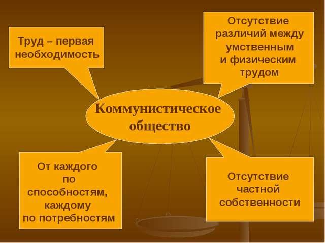 Коммунистическое общество Отсутствие различий между умственным и физическим т...
