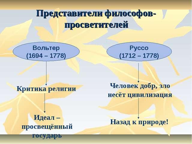 Представители философов-просветителей Вольтер (1694 – 1778) Руссо (1712 – 177...