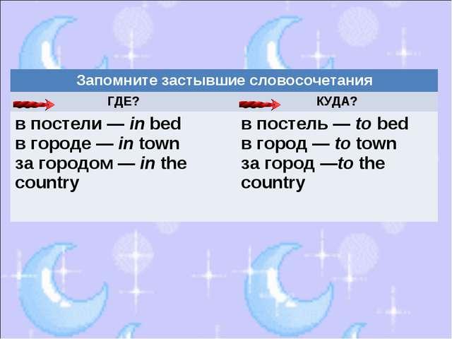 Запомните застывшие словосочетания ГДЕ?КУДА? в постели — in bed в городе —...
