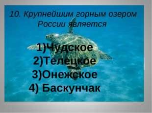 10. Крупнейшим горным озером России является 1)Чудское 2)Телецкое 3)Онежское