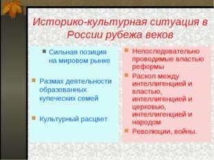 Историко-культурная ситуация в России рубежа веков Сильная позиция на мировом