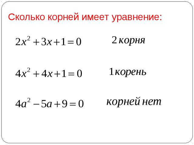 Сколько корней имеет уравнение: