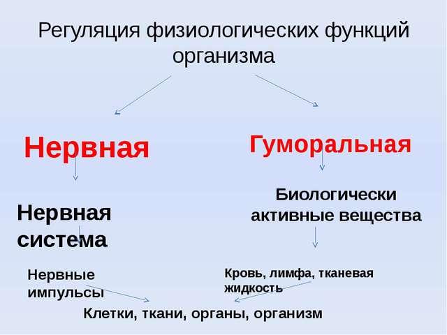 Регуляция физиологических функций организма Нервная Гуморальная Нервная систе...