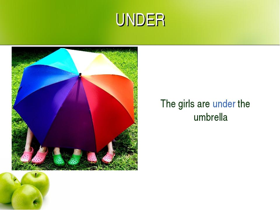UNDER The girls are under the umbrella