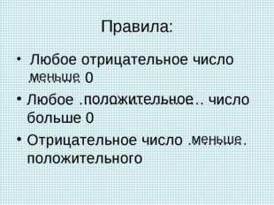 Правила: Любое отрицательное число ……….. 0 Любое ……………………. число больше 0 Отр
