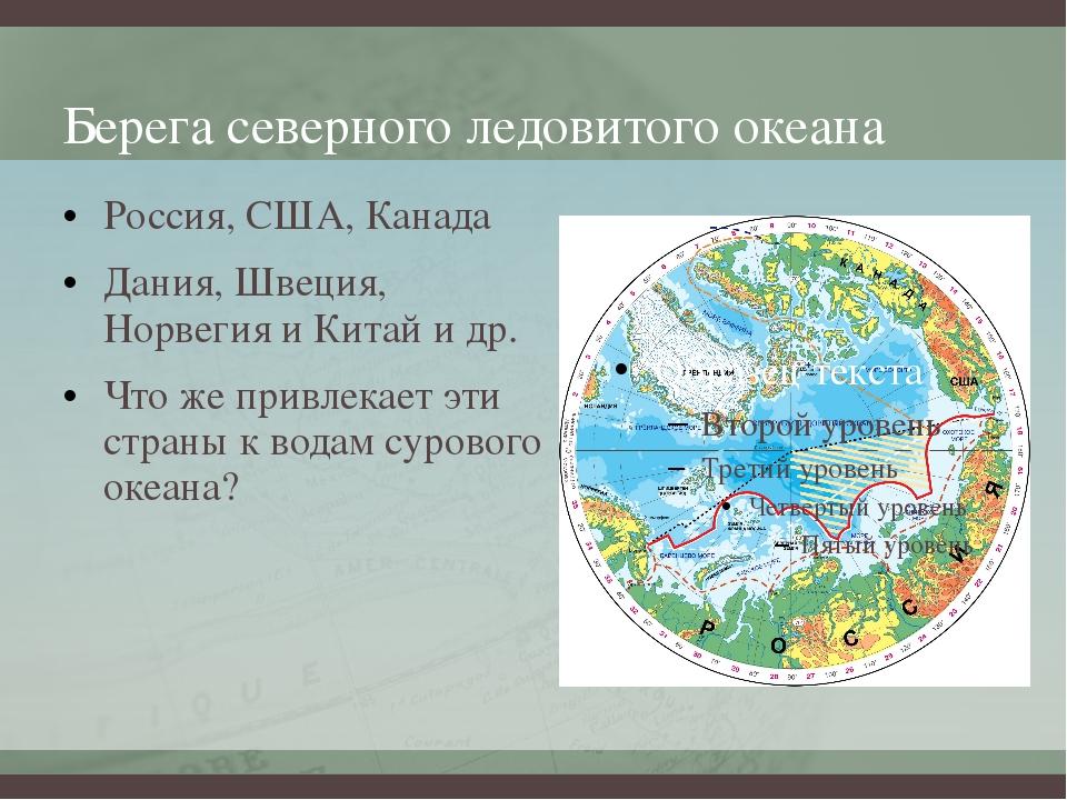 Берега северного ледовитого океана Россия, США, Канада Дания, Швеция, Норвеги...
