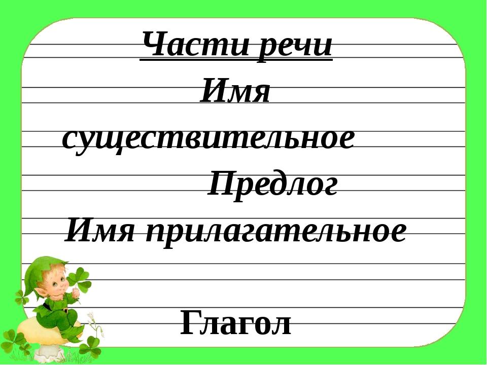 Части речи Имя существительное Предлог Имя прилагательное Глагол