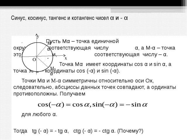 Синус, косинус, тангенс и котангенс чисел α и - α Пусть Мα – точка едини...