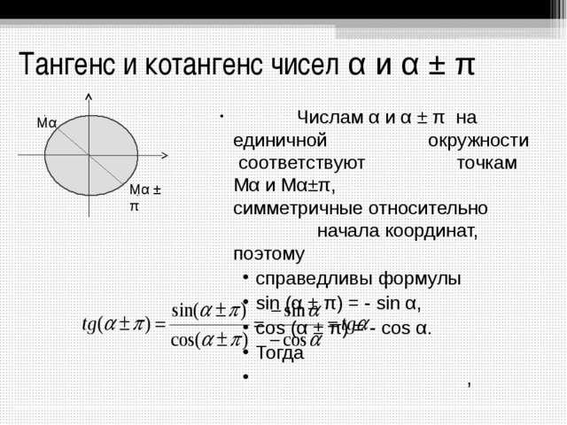 Тангенс и котангенс чисел α и α ± π Числам α и α ± π на единичной  окружно...