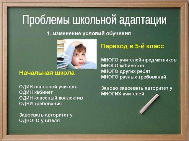 1. изменение условий обучения Начальная школа ОДИН основной учитель ОДИН каби...