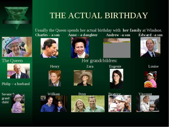 THE ACTUAL BIRTHDAY Usually the Queen spends her actual birthday with her fa...