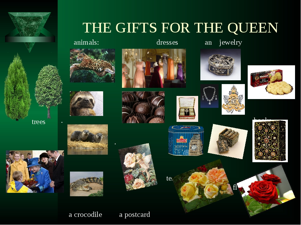 THE GIFTS FOR THE QUEEN animals: dresses аn jewelry . cookies an jaguar . bo...