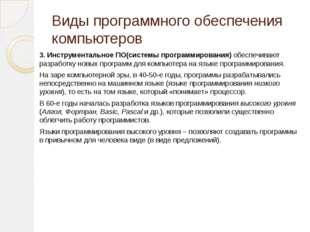 Виды программного обеспечения компьютеров 3. Инструментальное ПО(системы прог