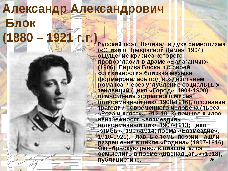 * Александр Александрович Блок (1880 – 1921 г.г.) Русский поэт. Начинал в дух...