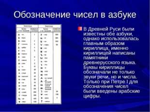 Обозначение чисел в азбуке В Древней Руси были известны обе азбуки, однако ис