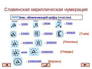 Знак, обозначающий цифру («титло») - 1000 - 7000 - 2000 - 10000 - 20000 - 500