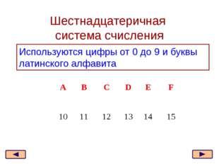 Шестнадцатеричная система счисления Используются цифры от 0 до 9 и буквы лати