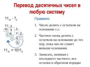 Перевод десятичных чисел в любую систему 1110 - ?2 11 2 -10 1 5 -4 1 -2 0 1 1