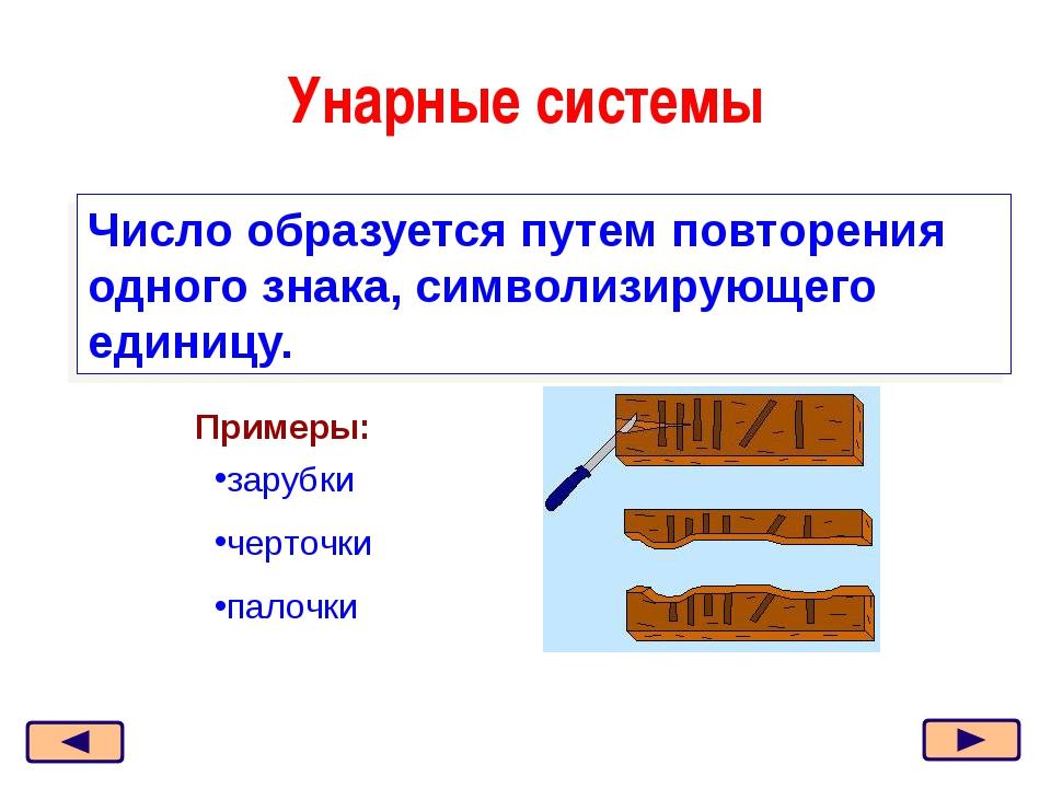 Унарные системы Число образуется путем повторения одного знака, символизирующ...